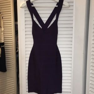 Purple Herve Leger Bodycon dress